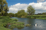 Granchester Cambridgeshire UK The River Cam or River Granta at Grantchester. Grantchster Meadow to left of image.