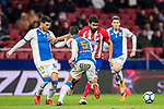 Diego Costa (R) of Atletico de Madrid competes for the ball with Ezequiel Matias Munoz (L) and Martin Maximiliano Mantovani of CD Leganes during the La Liga 2017-18 match between Atletico de Madrid and CD Leganes at Wanda Metropolitano on February 28 2018 in Madrid, Spain. Photo by Diego Souto / Power Sport Images
