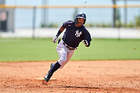 FCL Yankees Madison Santos (34) running the bases during a game against the FCL Tigers West on July 31, 2021 at Tigertown in Lakeland, Florida.  (Mike Janes/Four Seam Images)