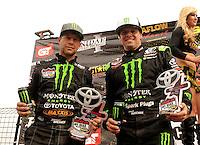 18-20 March 2011, Chandler, Arizona, USA Rick Huseman, Johnny Greaves, winner, celebration, trophy, Toyota Tundra ©2011, Mark J. Rebilas