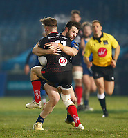8th January 2021; RDS Arena, Dublin, Leinster, Ireland; Guinness Pro 14 Rugby, Leinster versus Ulster; Ethan McIlroy of Ulster is tackled by Robbie Henshaw of Leinster