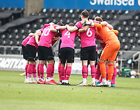 1st May 2021; Liberty Stadium, Swansea, Glamorgan, Wales; English Football League Championship Football, Swansea City versus Derby County; Derby County players group huddle before kick off