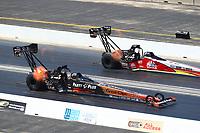 Jun 3, 2018; Joliet, IL, USA; NHRA top fuel driver Clay Millican (near) alongside Doug Kalitta during the Route 66 Nationals at Route 66 Raceway. Mandatory Credit: Mark J. Rebilas-USA TODAY Sports
