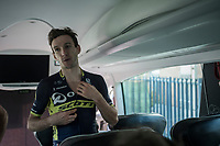 Adam Yates (GBR/Orica-Scott) back on the teambus after finishing 2nd today<br /> <br /> 98th Milano - Torino 2017 (ITA) 186km