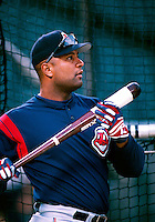 Sandy Alomar of the Cleveland Indians plays in a baseball game at Edison International Field during the 1998 season in Anaheim, California. (Larry Goren/Four Seam Images)