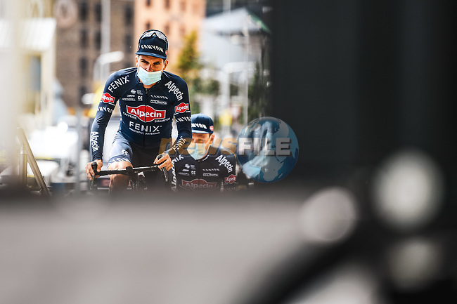 Kristian Sbaragli (ITA) and Alpecin Fenix at sign on before Stage 16 of the 2021 Tour de France, running 169km from Pas de la Case to Saint-Gaudens, France. 13th July 2021.  <br /> Picture: A.S.O./Charly Lopez | Cyclefile<br /> <br /> All photos usage must carry mandatory copyright credit (© Cyclefile | A.S.O./Charly Lopez)