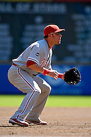 23 September 2007: Philadelphia Phillies third baseman Greg Dobbs in action against the Washington Nationals at Robert F. Kennedy Memorial Stadium in Washington, DC. The Nationals defeated the visiting Phillies 5-3 to close out the 2007 home season and the final game in baseball history at RFK Stadium. The Nationals will open up the 2008 season at Nationals Park, their new facility currently under construction.. .Mandatory Photo Credit: Ed Wolfstein Photo
