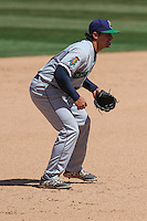 Cedar Rapids Kernels third baseman T.J. White (16) during a game against the Wisconsin Timber Rattlers on April 23rd, 2015 at Fox Cities Stadium in Appleton, Wisconsin.  Cedar Rapids defeated Wisconsin 3-0.  (Brad Krause/Four Seam Images)