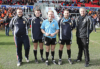 MEDALLION SHILED FINAL   Monday 10th March 2015<br /> <br /> Match officials after the 2015 Ulster Schools Medallion Shield Final at the Kingspan Stadium, Ravenhill Park, Belfast.<br /> <br /> Picture credit: John Dickson / DICKSONDIGITAL