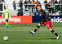 WASHINGTON, DC - FEBRUARY 29: Julian Gressel #31 of DC United sends over a cross during a game between Colorado Rapids and D.C. United at Audi Field on February 29, 2020 in Washington, DC.