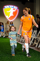Sky Blue FC player Christie Rampone and her daughter Rylie before the start of the Women's Professional Soccer uniform unveiling at the Event Place in Manhattan, NY, on February 24, 2009. Photo by Howard C. Smith/isiphotos.com
