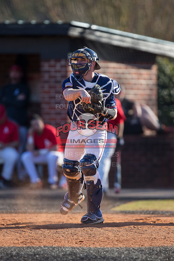 Shippensburg Raiders catcher Ryan Hill (16) on defense against the Belmont Abbey Crusaders at Abbey Yard on February 8, 2015 in Belmont, North Carolina.  The Raiders defeated the Crusaders 14-0.  (Brian Westerholt/Four Seam Images)