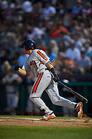 Aberdeen IronBirds catcher Alfredo Gonzalez (19) hits a single during a game against the Tri-City ValleyCats on August 27, 2018 at Joseph L. Bruno Stadium in Troy, New York.  Aberdeen defeated Tri-City 11-5.  (Mike Janes/Four Seam Images)