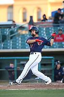 Richard Gonzalez (16) of the Lancaster JetHawks bats against the Bakersfield Blaze at The Hanger on April 28, 2016 in Lancaster, California. Lancaster defeated Bakersfield, 5-4. (Larry Goren/Four Seam Images)