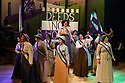 """Cardiff, UK. 04.06.2018. Welsh National Opera's """"Rhondda Rips It Up!"""" in dress rehearsal, at the Wales Millennium Centre, Cardiff. <br /> """"Rhondda Rips It Up!"""" is centred on the life and adventures of that unsung heroine of the Welsh Suffrage movement, Margaret Haig Thomas, the Viscountess Rhondda.<br /> Suffragette, activist and entrepreneur, Lady Rhondda paved the way for the equal rights for women. As well as campaigning tirelessly for women's suffrage, she became the lightning rod for women's efforts during WW1, survived the sinking of the Lusitania and created the radical feminist magazine Time and Tide. Her indefatigable efforts and endeavours were finally rewarded when, in 1918, women over the age of thirty were enfranchised.<br /> This thigh-slapping romp through the world of suffrage and song is told through the lens of music-hall and fittingly sports an all-female cast and creative team. The audience is guided through the story by Emcee (Lesley Garrett) following the escapades of Lady Rhondda (Madeleine Shaw) and her brave battalion of suffragettes as they fearlessly takes on Peers, politicians and post-boxes in their struggle for women's rights.<br /> WNO will showcase this woman's fight for liberty, survival and equality in a number of ways: from community events, talks and schools workshops to exhibitions, interactive digital experiences as well as the production itself.<br /> The production will have its World Premiere in Newport before touring throughout June 2018, with an Autumn tour in October and November to follow. The production will tour to Newport, Birmingham, Carmarthen, Cardiff, Brecon, London, Malvern, Treorchy, Newtown, Swansea, Oxford, Bangor, Swindon, Northampton, Mold, and Winchester.<br /> <br /> Photograph © Jane Hobson."""