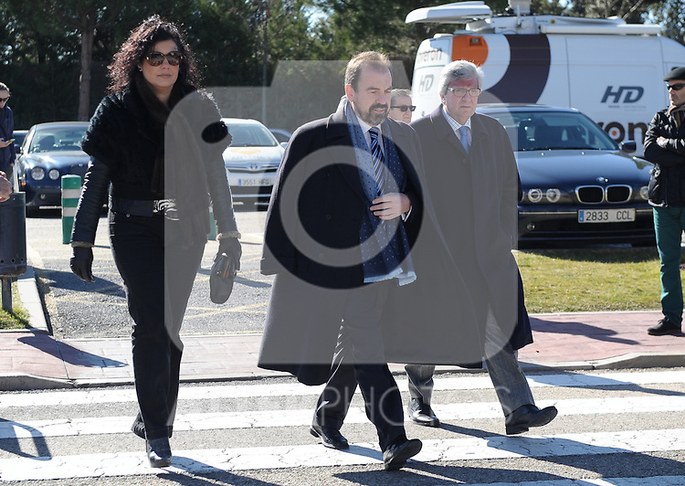 Getafe's President Angel Torres during the funeral ceremony in memory of the national soccer team coach Luis Aragones. February 2, 2014. (ALTERPHOTOS/S.Lopez)