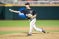 Texas Tech Red Raiders pitcher Tanner Floyd (28) delivers a pitch to the plate during Game 9 of the NCAA College World Series against the Florida State Seminoles on June 19, 2019 at TD Ameritrade Park in Omaha, Nebraska. Texas Tech defeated Florida State State 4-1. (Andrew Woolley/Four Seam Images)