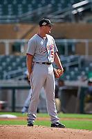 Salt River Rafters pitcher Dakota Bacus (50) looks in for the sign during an Arizona Fall League game against the Surprise Saguaros on October 20, 2015 at Salt River Fields at Talking Stick in Scottsdale, Arizona.  Surprise defeated Salt River 3-1.  (Mike Janes/Four Seam Images)