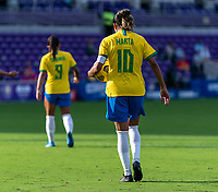 ORLANDO, FL - FEBRUARY 18: Marta #10 of Brazil carries the ball to the penalty spot during a game between Argentina and Brazil at Exploria Stadium on February 18, 2021 in Orlando, Florida.