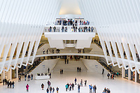 The view from one of the ground level entrances to the Oculus World Trade Center Transportation Hub in New York City.