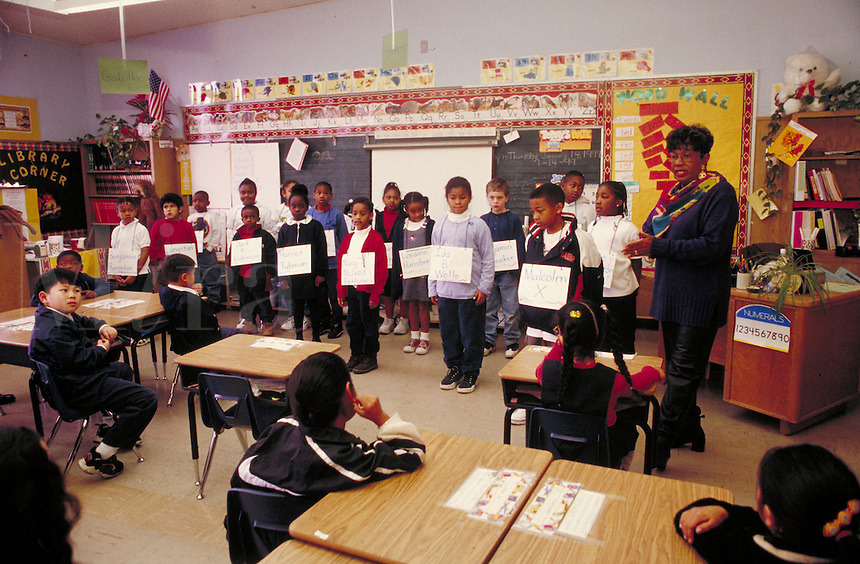 GENERAL ELEMENTARY EDUCATION IN CLASSROOM. ELEMENTARY SCHOOL STUDENTS. OAKLAND CALIFORNIA USA CARL MUNCK ELEMENTARY SCHOOL.