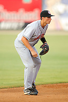 Shortstop Rick Hague #18 of the Hagerstown Suns on defense against the Kannapolis Intimidators at Fieldcrest Cannon Stadium August 10, 2010, in Kannapolis, North Carolina.  Photo by Brian Westerholt / Four Seam Images