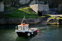 Ballintoy Harbor with boats. Northern Ireland
