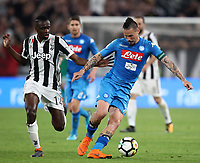 Calcio, Serie A: Juventus - Napoli, Torino, Allianz Stadium, 22 aprile, 2018.<br /> Napoli's captain Marek Hamsik (r) in action with Juventus' Blaise Matuidi (i) during the Italian Serie A football match between Juventus and Napoli at Torino's Allianz stadium, April 22, 2018.<br /> UPDATE IMAGES PRESS/Isabella Bonotto