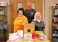 Pictured L-R: Margaret Jenkins, Graham Randall and Jillian Miggins. Thursday 10 August 2017<br />Re: DS Smith employees Margaret Jenkins, Jillian Miggins and Graham Randall are celebrating 120 years of service between the three of them at the company's Neath factory in south Wales.