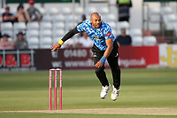 Tymal Mills in bowling action for Sussex during Essex Eagles vs Sussex Sharks, Vitality Blast T20 Cricket at The Cloudfm County Ground on 15th June 2021
