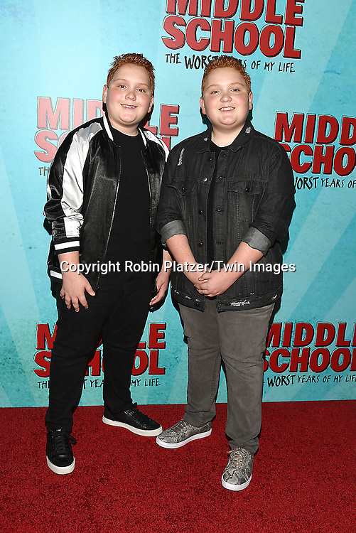 """actors Benjamin and Matthew Royer of """"""""Best Friends Whenever"""" attends the """"Middle School: The Worst Years of My Life"""" New York Screening on October 1, 2016 at the Regal E-Walk in New York, New York, USA.<br /> <br /> photo by Robin Platzer/Twin Images<br />  <br /> phone number 212-935-0770"""