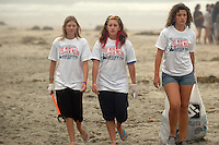 """Cassidy Cooke, Shannon Bolch and Maggie Banner took part in the """"The Morning After Mess"""" Beach Clean Up on July 5th, 2008.  The trio said that there was so little trash on the beach that they moved on to the boardwalk and surrounding area to find trash.  Volunteers and organisers of several beach clean-ups in the Pacific and Mission Beach area were stunned by the huge reduction in trash on the beaches compared to what they are used to finding each year on July 5th after the big Fourth of July holiday.  The cleanliness of the beaches left many searching the side streets and alleys for trash to collect."""