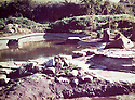 22/04/16<br /> <br /> Collect photo showing first bridge being built in garden in 1981.<br /> <br /> Japanese garden, near Newark, Nottinghamshire.<br /> <br /> Full story here:<br /> <br /> http://www.fstoppress.com/articles/japanese-gardens-in-the-heart-of-england/<br /> <br /> .Rights Reserved: F Stop Press Ltd. +44(0)1335 418365   www.fstoppress.com.