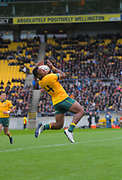 Australia's Filipo Daugunu takes a high ball during the Bledisloe Cup rugby union match between the New Zealand All Blacks and Australia Wallabies at Sky Stadium in Wellington, New Zealand on Sunday, 11 October 2020. Photo: Dave Lintott / lintottphoto.co.nz