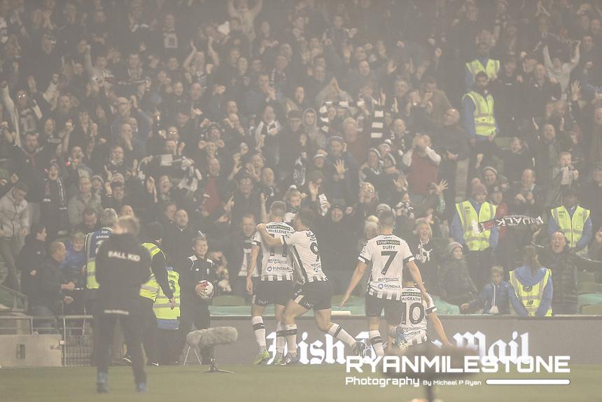 Patrick McEleney of Dundalk celebrates after scoring a goal<br /> during the Irish Daily Mail FAI Cup Final between Dundalk and Cork City, on Sunday 4th November 2018, at the Aviva Stadium, Dublin. Mandatory Credit: Michael P Ryan.