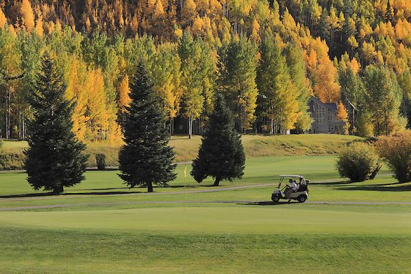 Golfer recording his score at Vail Golf Course, Vail Colorado, USA.