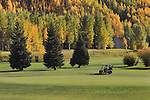 Golfer recording his score at Vail Golf Course, Vail Colorado, USA.