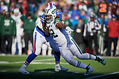 New York Jets Leonard Williams (92) rushes against Jordan Mills (79) during an NFL football game against the Buffalo Bills, Sunday, December 9, 2018, in Orchard Park, N.Y.  (Mike Janes Photography)