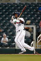 Fort Myers Miracle third baseman Miguel Sano #24 hits a solo home run in the bottom of the first inning during a game against the Jupiter Hammerheads on April 9, 2013 at Hammond Stadium in Fort Myers, Florida.  Fort Myers defeated Jupiter 1-0.  (Mike Janes/Four Seam Images)