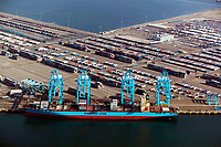 aerial photograph pf Maersk Line containership unloading at the Port of Los Angeles, California