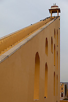 Jaipur, Rajasthan, India.  Jantar Mantar, an 18th-century Site for Astronomical Observations, now a World Heritage Site.  This structure is the Vrihat Samrat Yantra, a 90-foot-high sundial that can give the time to an accuracy of two seconds.  With or without pigeons.