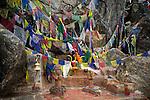 A shrine at Gosaikunda Lake, a holy lake in the Langtang region of the Nepali Himalayas.