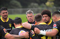Lions assistant coach Greg Halford talks to the team during the Mitre 10 Cup rugby match between Wellington Lions and Tasman Makos at Jerry Collins Stadium in Wellington, New Zealand on Saturday, 31 October 2020. Photo: Dave Lintott / lintottphoto.co.nz