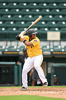 FCL Pirates Gold Gustavo Polanco (35) bats during a game against the FCL Rays on July 26, 2021 at LECOM Park in Bradenton, Florida. (Mike Janes/Four Seam Images)