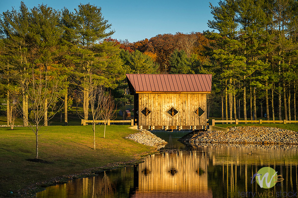 Private Covered Bridge at Rogers Pond, Deep River, CT. The Olson's