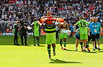 Tranmere Rovers 1 Forest Green Rovers 3, 14/05/2017. Wembley Stadium, Conference play off Final. Forest Green players celebrate promotion at full time during the Vanarama Conference play off Final  between Tranmere Rovers v Forest Green Rovers at the Wembley. Photo by Paul Thompson.