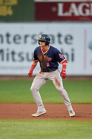 Portland Sea Dogs Brett Netzer (3) leads off second base during an Eastern League game against the Erie SeaWolves on June 17, 2019 at UPMC Park in Erie, Pennsylvania.  Portland defeated Erie 6-3.  (Mike Janes/Four Seam Images)