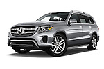 Stock pictures of low aggressive front three quarter view of 2018 Mercedes Benz GLS-Class GLS450 5 Door SUV Low Aggressive