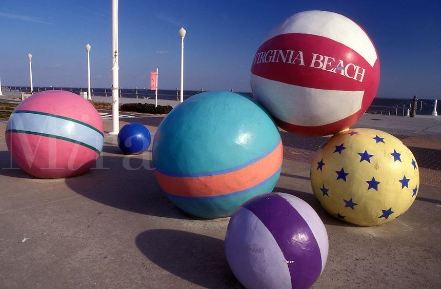 beach balls, Virginia Beach, Virginia, VA, Large colorful beach ball sculptures at the ocean front park in Virginia Beach.