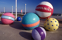 beach balls, Virginia Beach, Virginia, VA, Large colorful beach ball sculptures at the ocean front park in Virginia Beach.